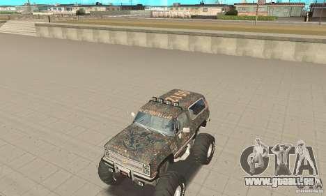 Chevrolet Blazer K5 Monster Skin 6 pour GTA San Andreas laissé vue