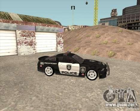 Ford Shelby GT500 2010 Police pour GTA San Andreas vue de droite