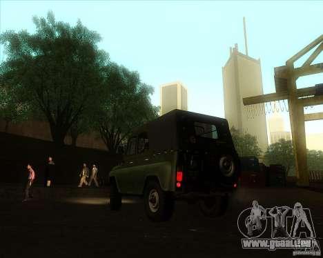 UAZ 31512 militaire pour GTA San Andreas laissé vue