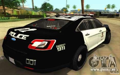 Ford Taurus 2011 LAPD Police pour GTA San Andreas sur la vue arrière gauche