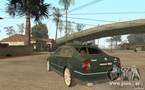 Volkswagen Passat B5+ W8 4Motion pour GTA San Andreas sur la vue arrière gauche