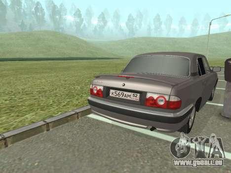 GAZ Wolga 31105 Neugestaltung für GTA San Andreas zurück linke Ansicht
