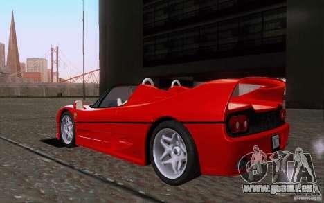 Ferrari F50 v1.0.0 1995 pour GTA San Andreas sur la vue arrière gauche