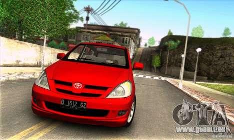 Toyota Kijang Innova 2.0 G für GTA San Andreas zurück linke Ansicht