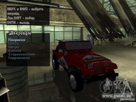 Jeep Wrangler 1986 4.0 Fury v.3.0 pour GTA San Andreas vue de côté