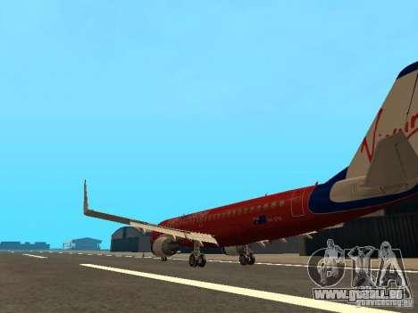 Embraer ERJ 190 Virgin Blue pour GTA San Andreas sur la vue arrière gauche