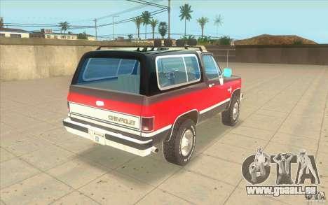 Chevrolet Blazer K5 Stock 1986 für GTA San Andreas zurück linke Ansicht