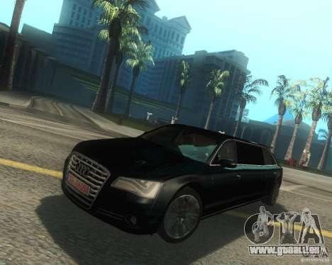 Audi A8 2011 Limo pour GTA San Andreas sur la vue arrière gauche