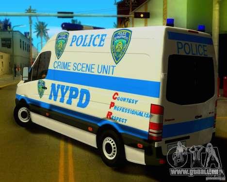Mercedes Benz Sprinter NYPD police für GTA San Andreas zurück linke Ansicht