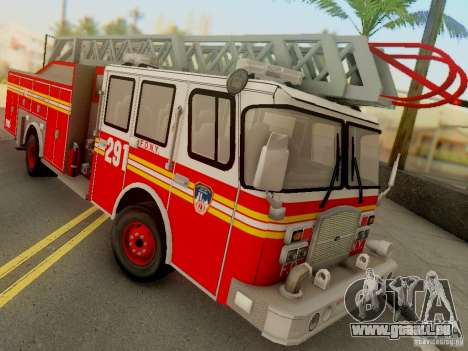 E-One FDNY Ladder 291 für GTA San Andreas zurück linke Ansicht