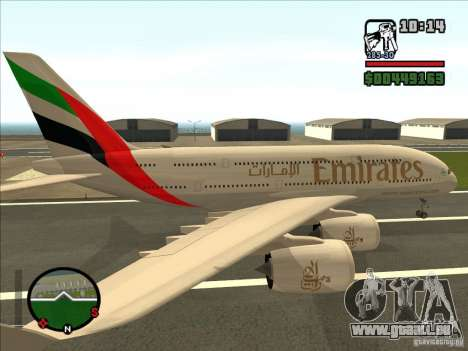 Boeing Emirates Airlines für GTA San Andreas linke Ansicht