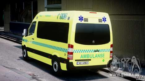 Mercedes-Benz Sprinter PK731 Ambulance [ELS] pour GTA 4 Vue arrière de la gauche