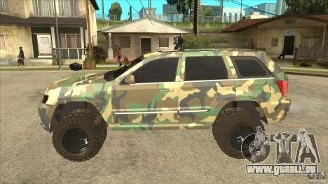 Jeep Grand Cherokee SRT8 Camo pour GTA San Andreas laissé vue