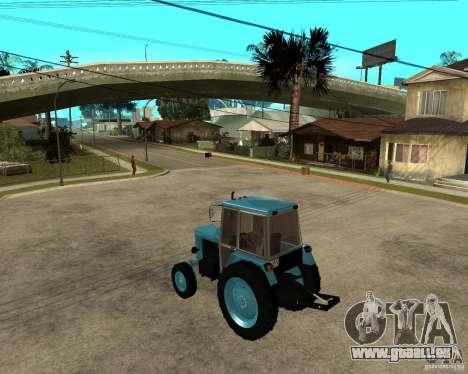 Tracteur Belarus 80,1 et remorque pour GTA San Andreas laissé vue