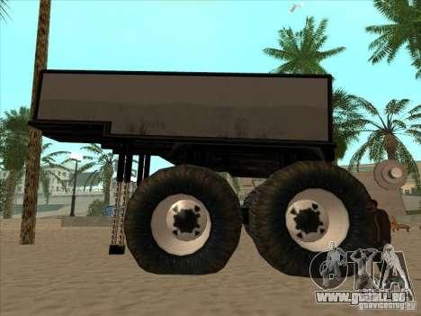 Remorque pour camion monstrueux pour GTA San Andreas vue de droite