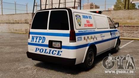 Police Speedo pour GTA 4 Vue arrière de la gauche