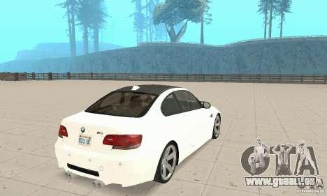 BMW M3 2008 pour GTA San Andreas vue de droite