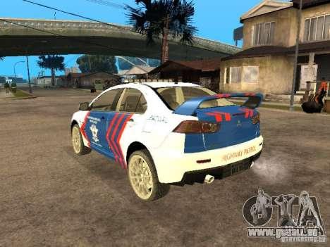 Mitsubishi Lancer X Police Indonesia für GTA San Andreas linke Ansicht
