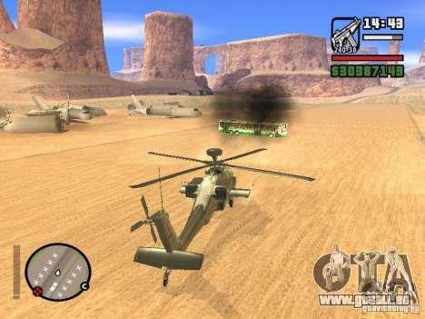 AH-64D Longbow Apache pour GTA San Andreas vue intérieure
