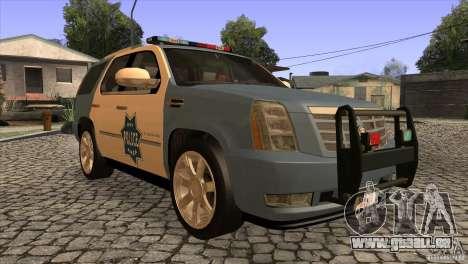 Cadillac Escalade 2007 Cop Car für GTA San Andreas Rückansicht
