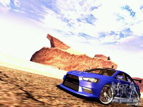 Mitsubishi Lancer EVO X Juiced2 HIN pour GTA San Andreas laissé vue
