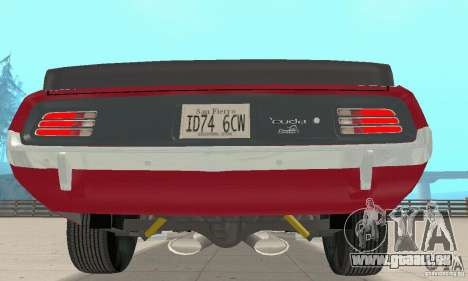 Plymouth Cuda AAR 340 1970 für GTA San Andreas Rückansicht