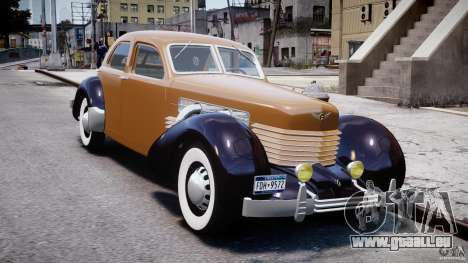 Cord 812 Charged Beverly Sedan 1937 pour GTA 4 Vue arrière