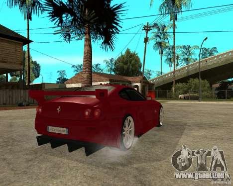 Ferrari 612 Scaglietti GTS LaMans TUNING pour GTA San Andreas sur la vue arrière gauche
