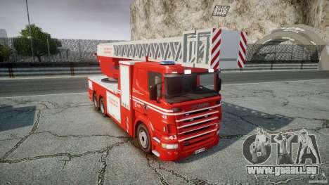 Scania Fire Ladder v1.1 Emerglights blue-red ELS pour GTA 4 est une vue de l'intérieur