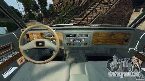 Cadillac Fleetwood Brougham Delegance 1986 pour GTA 4 est une vue de l'intérieur
