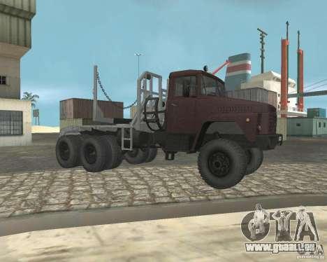Transporteur de bois KrAZ-255 pour GTA San Andreas vue de droite