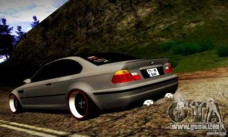 BMW M3 JDM Tuning pour GTA San Andreas sur la vue arrière gauche