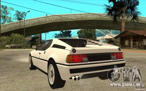 BMW M1 1981 pour GTA San Andreas sur la vue arrière gauche