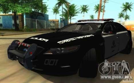 Ford Taurus 2011 LAPD Police pour GTA San Andreas laissé vue