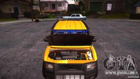 Honda Element LX pour GTA San Andreas vue intérieure