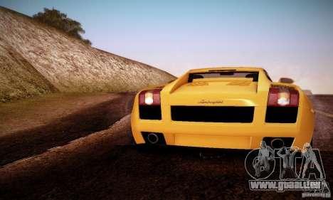 Lamborghini Gallardo pour GTA San Andreas sur la vue arrière gauche