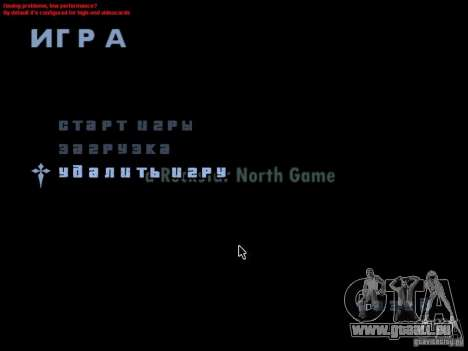 Einem Bildschirm im Hauptmenü für GTA San Andreas zweiten Screenshot