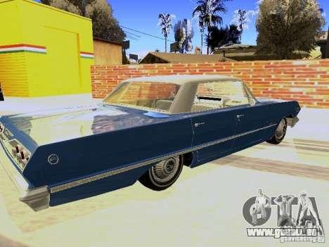 Chevrolet Impala 4 Door Hardtop 1963 pour GTA San Andreas sur la vue arrière gauche