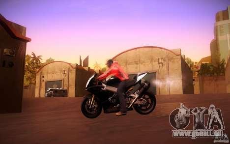 Aprilia RSV-4 Black Edition für GTA San Andreas Rückansicht