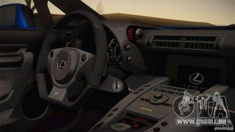 Lexus LFA Nürburgring Performance Package 2011 pour GTA San Andreas vue intérieure