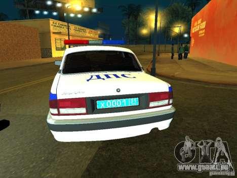 GAZ 31105 Police pour GTA San Andreas sur la vue arrière gauche