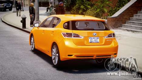 Lexus CT200h 2011 für GTA 4 hinten links Ansicht