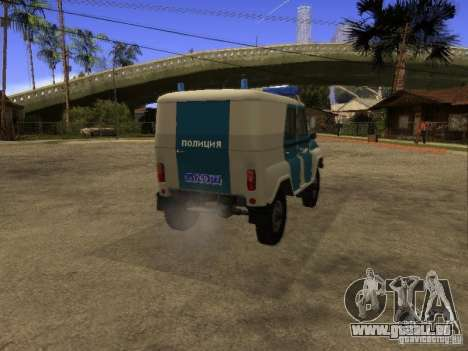 UAZ 31519 Polizei für GTA San Andreas zurück linke Ansicht