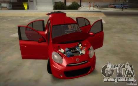 Nissan Micra 2011 pour GTA San Andreas vue intérieure