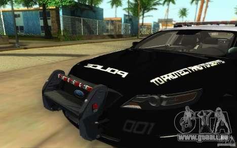 Ford Taurus 2011 LAPD Police pour GTA San Andreas vue intérieure