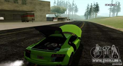 Audi R8 Light Tuned Version pour GTA San Andreas sur la vue arrière gauche