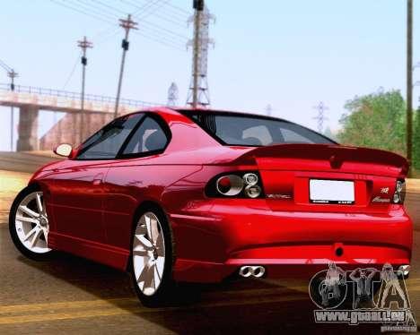 Vauxhall Monaro VXR pour GTA San Andreas laissé vue