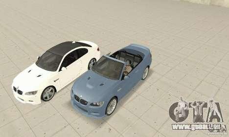BMW M3 2008 pour GTA San Andreas sur la vue arrière gauche