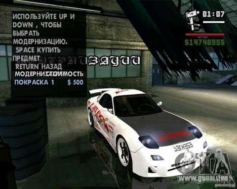 Mazda RX-7 WeaponWar für GTA San Andreas Innenansicht