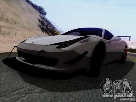 Ferrari 458 Italia Tuned pour GTA San Andreas vue arrière